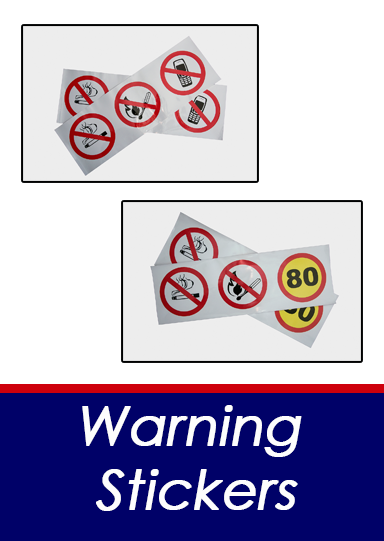 Warning stickers button